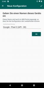 Screenshot neues Gerät hinzufügen