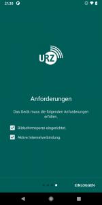 Screenshot der TUC WLAN App. Überprüfung der Verbindung und der Bildschirmsperre