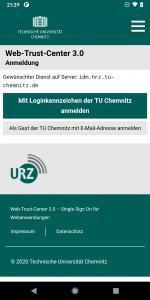Screenshot Anmeldebildschirm WebTrustCenter