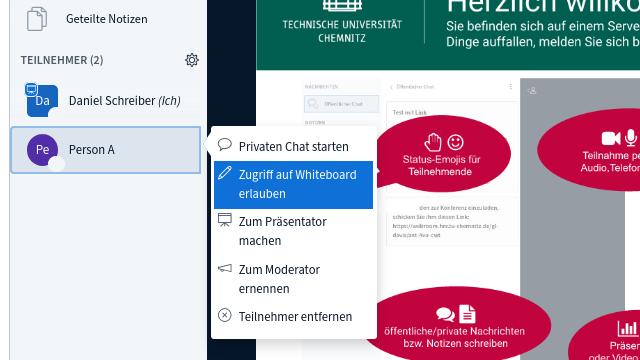 Screenshot Zugriff auf Whiteboard erlauben