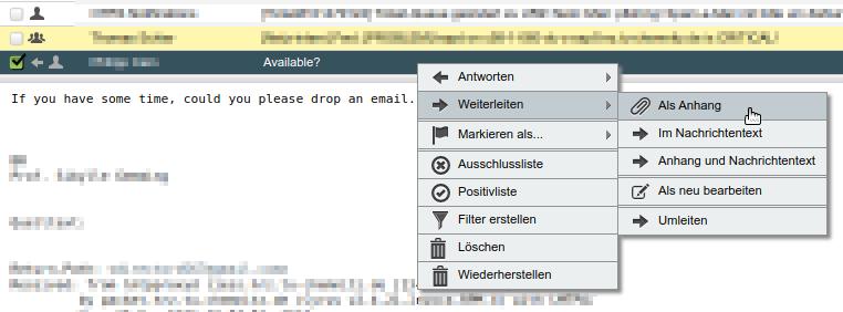 Bildschirmauszug Webmail