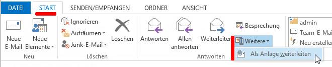 Bildschirmauszug aus Outlook
