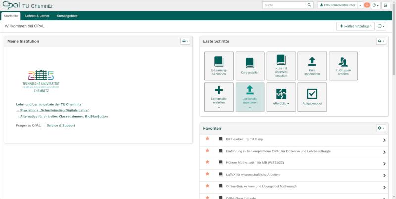 Screenshot der OPAL Startseite